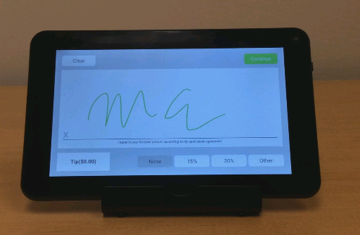 Signing screen seen for credit card transactions